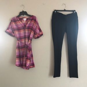 Isabel Maternity Pink Plaid Tunic Black Ponte Pant